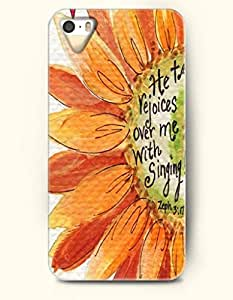 iPhone 5 5S Case OOFIT Phone Hard Case ** NEW ** Case with Design He Tell Rejoices Over Me With Singing Zeph 3:17- Bible Verses - Case for Apple iPhone 5/5s