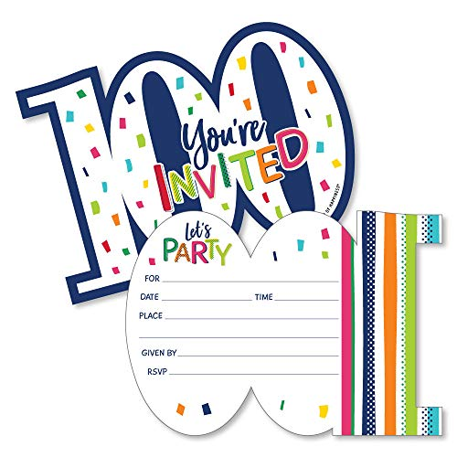 100th Birthday - Cheerful Happy Birthday - Shaped Fill-In Invitations - Colorful One Hundredth Birthday Party Invitation Cards with Envelopes - Set of 12