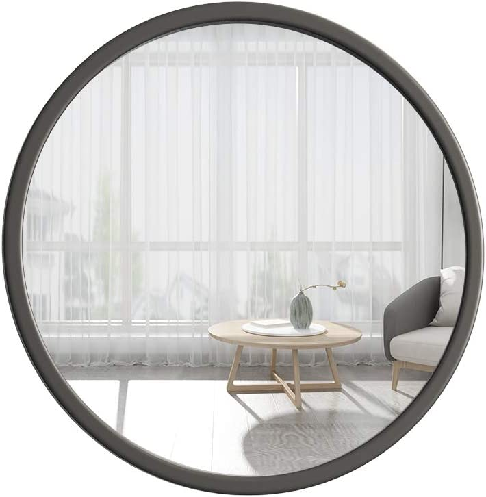 TIANGU Black Round Mirror Wall Mounted,31.5in Large Circle Mirrors for Wall,Bathroom Metal Frame Wall Mirror,Big Modern Vanity Mirror for Living Room Bedroom