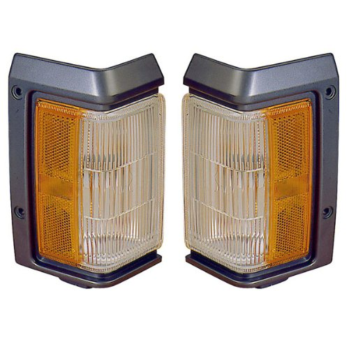 1988-1995 Nissan Pathfinder Turn Signal Park Lamp (with Black Trim) Corner Park Light Pair Set Left Driver AND Right Passenger Side (1988 88 1989 89 1990 90 1991 91 1992 92 1993 93 1994 94 1995 95)