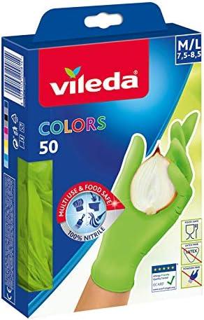 4 x 50 pieces Vileda Colors Nitrile 50 M//L assorted colors Gr 4-pack