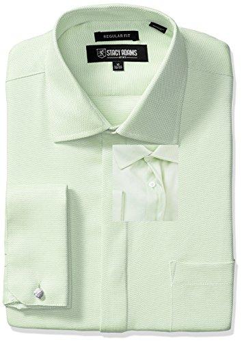 Stacy Adams Men's Textured Solid Dress Shirt, Green, 17.5...