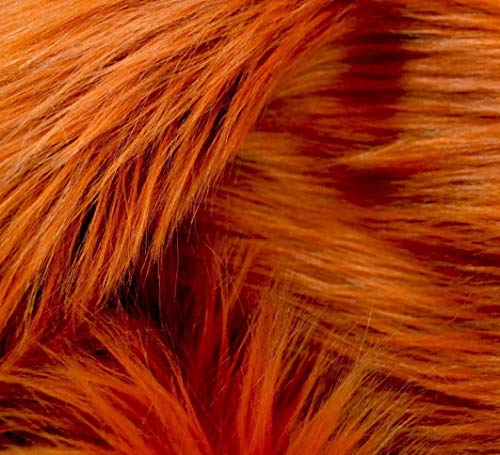 Springs Places Coral (Bianna Luxury Faux Fur Shag Shaggy Fabric Piece/DIY Craft Project/Photo Prop Backdrop/Basket Filler/Fursuit/Trim - All Pieces Measured in INCHES (Amber/Deep Orange, 8x8 inches))