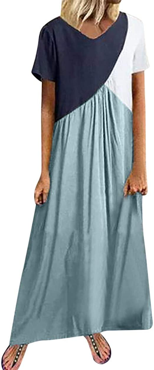 Summer Women Casual Long Maxi Dress Striped Pleated Shirt Dress Beach Party Plus
