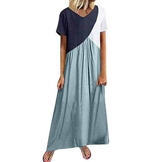 GOWOM Women Casual Casual Splicing Dress Short Sleeve Loose ...