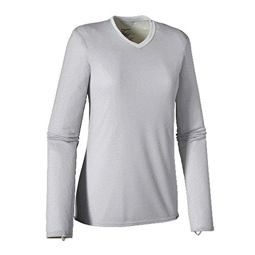 Womens Capilene 2 Bottoms - Patagonia Women's Capilene 2 Lightweight V-Neck - Tailored Grey - Birch White X-Dye, XL