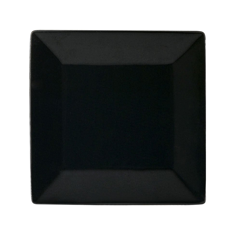 CAC China KC-16-BLK Color Arts 10-Inch Stoneware Square Plate, Black, Box of 12