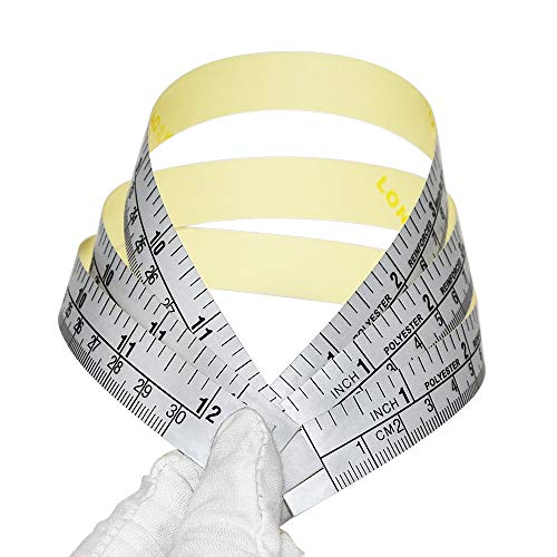 WIN TAPE Pack of 5pcs 12 Inches 30 Centimeters Short Adhesive Table Sticky Measuring Tape Ruler Self-Adhesive Tape Measure (Inches/CM)