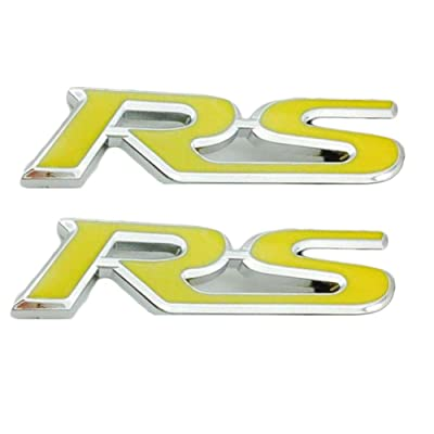 WindCar RS Emblems 3D RS Decal Emblem Sticker Badge For Camaro Chevrolet GM Series (Yellow-2pcs): Automotive