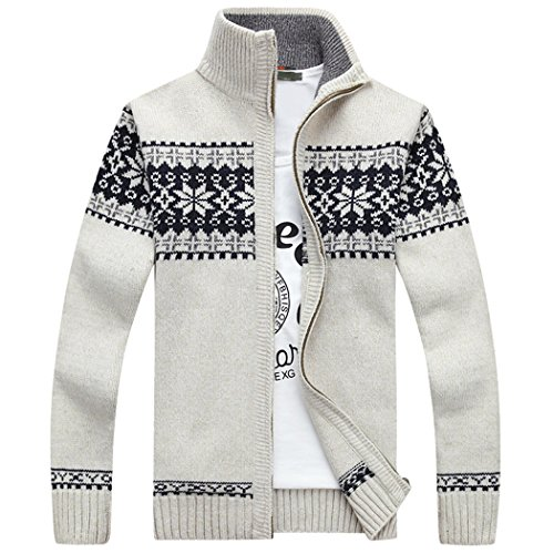 Sun Lorence Men's Casual Slim Fit Stand Collar Cardigan Full-zip Knitwear Sweaters White S