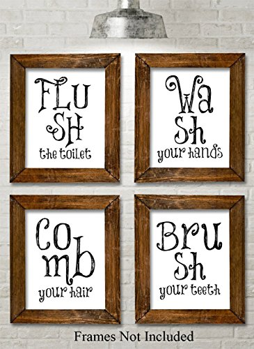 Bathroom Quotes and Sayings Art Prints - Set of Four Photos (11x14) Unframed - Great Gift for Bathroom Decor