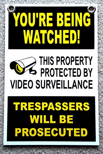 - 1Pc Tops Popular You're Being Watched Yard Signs Coroplast 24Hr Protection Anti-Robber Size 8