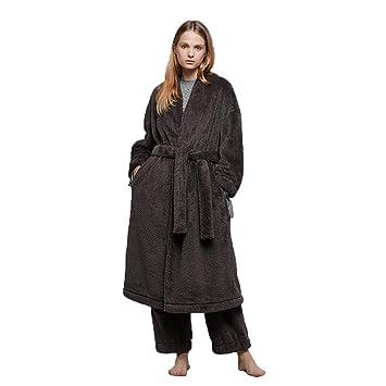 Pijamas De Las Mujeres Albornoz Toallas De Baño Batas Coral Terciopelo Batas Acolchado Servicio En El Hogar Bolsillo Casual (Color : Brown, ...
