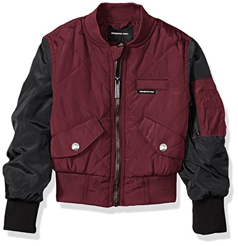 (Members Only Girls' Little Quilted Bomber, Burgundy,)