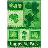 Shamrock Collage BreezeArt St. Patricks Day Garden Flag
