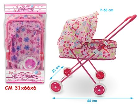 TEOREMA Theorem 04041 – Metal Pram with Canopy, Assorted Colours