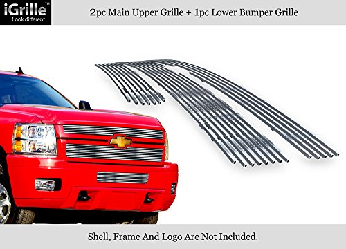 APS 304 Stainless Billet Grille Grill Combo Compatible with 2011-2014 Chevy Silverado 2500HD 3500HD C61031C