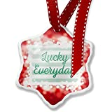 Christmas Ornament Lucky Everyday St. Patrick's Day Simple Light Green Stripes, red - Neonblond
