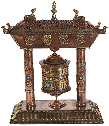 Tibetan-Buddhist-Ashtamangala-Prayer-Wheel-with-Incense-Burner-Brass-and-Copper