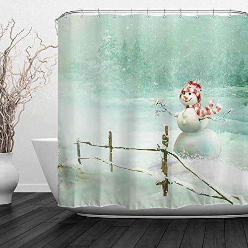 QiyI Christmas Snowman Shower Curtain Waterproof Machine Washable Made of 100% Polyester Fabric Easy to Rinse Off and Hang for Bathroom 60