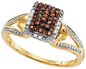 Size 10 - 10k Yellow Gold Round Chocolate Brown Diamond Cluster Ring 1/6 Cttw