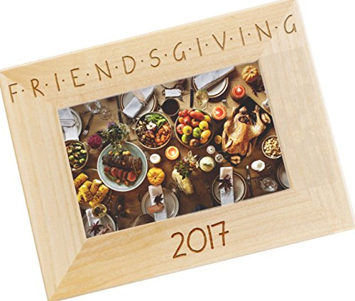 Friendsgiving Personalized Wood Photo Frame - Custom Engraved Happy Thanksgiving Picture Frame - WF48 (Frame Thanksgiving)