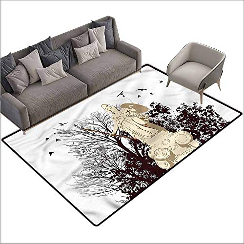 Polyester Non-Slip Doormat Rugs Colorful Vintage,Greek Athena Statue Tree 80