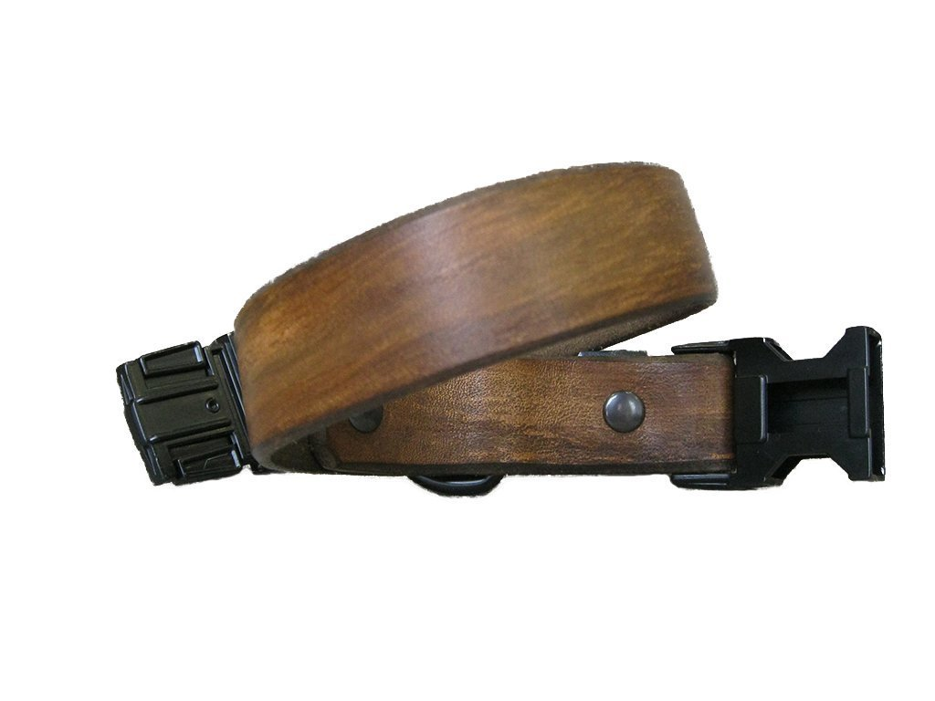 Dog Collar Quick Release Dog Collar in Vintage Brown Leather and Black Metal Hardware Colorful Dog collar