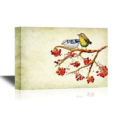 Pair of Birds on a Rowan Berry Branch 16x24