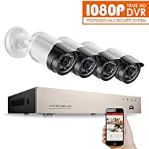 Anlapus 4CH Full 1080P Home Security Camera System, 4 Channel True 1080P HD-TVI DVR and (4) 2.0MP 1920TVL Weatherproof Outdoor Indoor Cameras with Motion Detection and Remote Viewing(No Hard Drive)