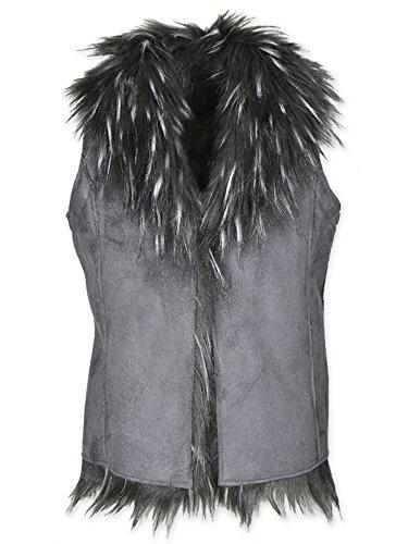 (Widgeon Big Girl's Reversible Suede Faux Fur Vest 3703 Outerwear, Fsx/Fox Faux Suede, 12)