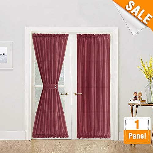 Burgundy Red Privacy French Door Panel Rod Pocet Curtains 72 inch Length Faux Silk French Door Curtain Panels Satin French Door Panels, 1 Panels, Tieback ()