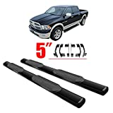 """CCIYU Black 5"""" Nerf Bars Running Boards For 2010-2017 DODGE RAM 2500 3500 Extended Cab Side Steps Running Boards Side Bars With Non-slip Pad"""
