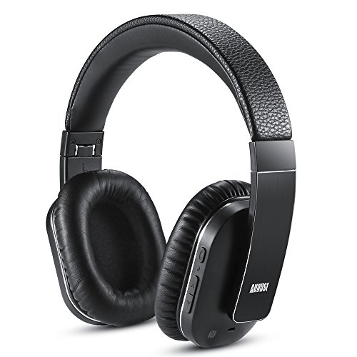 August EP750 Active Noise Cancelling Wireless Bluetooth Over-Ear Stereo Headphones with Microphone and Volume Control - aPTX/Black - Reduce Air Travel Engine Noise