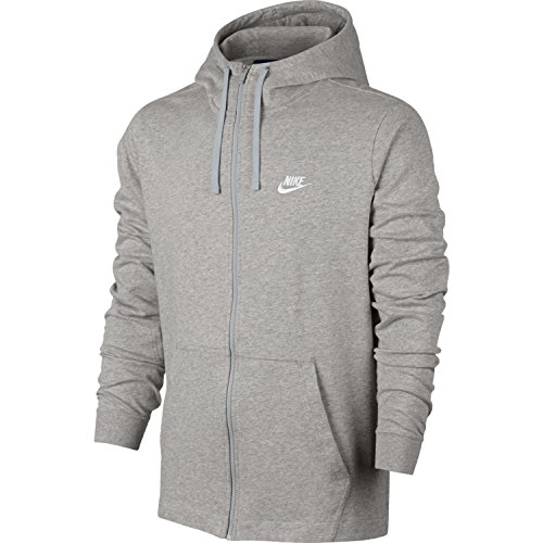Nike Mens Jersey Club Full Zip Hoodie DK Grey Heahther/White 861754-063 Size Large
