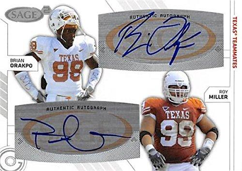 Autograph 179358 Texas 2009 Sage No. Sa-17 Rookie Teammates Brian Orakpo & Roy Miller Autographed Football Card ()