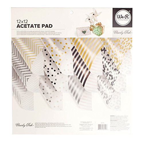 American Crafts 12 x 12-inch Clearly Posh Acetate Pad by We R Memory Keepers   Multi-Colored Foil Accents   Includes 12 12 x 12-inch sheets in 12 different designs Acetate Paper
