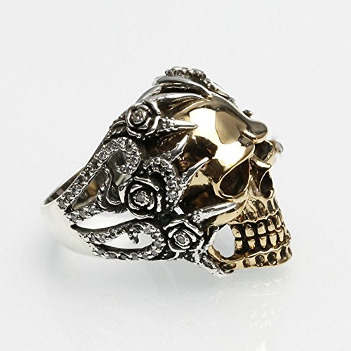 Bishilin Men's Rings Silver Plated Skull Partner Rings Silver Size 12 by Bishilin (Image #1)