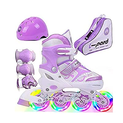 ZMCOV Adjustable Inline Skate, Illuminating Roller Skates, Great for Beginners, Comfortable Roller Skates, Inline Skates for Girls and Boys, Purple, 39~42 : Sports & Outdoors