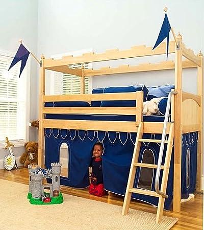 Amazon Com Twin Loft Bed In Natural Finish W Castle Theme Knight S Curtain Ladder Furniture Decor