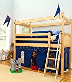 Cheap Twin Loft Bed in Natural Finish w Castle Theme, Knight's Curtain & Ladder