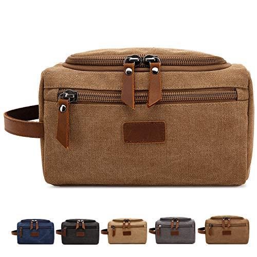 Men's Toiletry Bag Canvas Shaving Dopp Kit Travel Bags Organizer (Coffee) (Best Shaving Kit Bag)