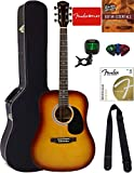 Fender Squier Dreadnought Acoustic Guitar - Sunburst Bundle with Hard Case, Tuner, Strap, Strings, Picks, and Austin Bazaar Instructional DVD