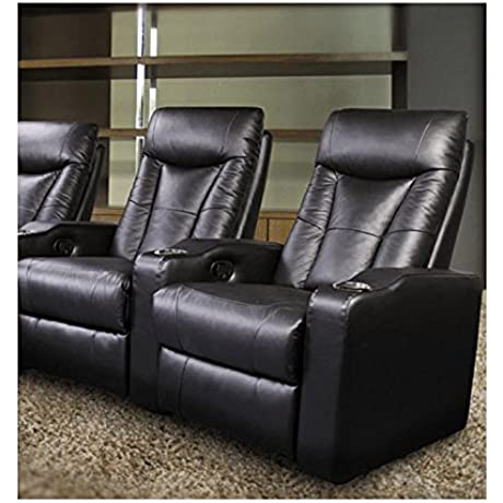 Pavillion Theater Seating 2 Black Leather Chairs Coaster Co
