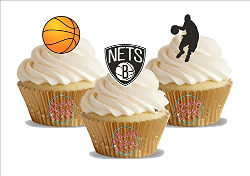 12 x Basketball Brooklyn Nets Mix - Fun Novelty Birthday PREMIUM STAND UP Edible Wafer Card Cake Toppers - Cards Premium Net