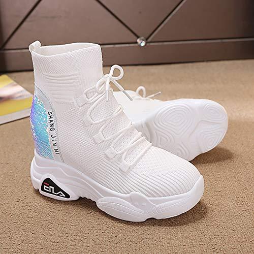 Calcetines 39 Con Zapatillas Redonda Running Las Delantera Confort Mzq Negro Zapatos Blanco De Correa Cabeza yq Mujeres Tamaño White Elásticos Deportivas 35 gRw7Bf5q