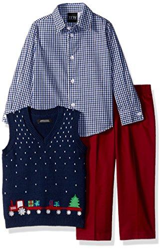 (TFW Dresswear Baby Boys Sweater Vest Set, red Train)