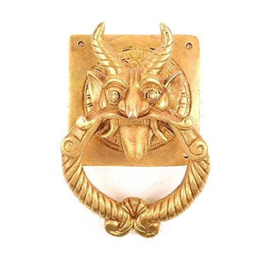 Indian Shelf Brass Demon Devil Door Knockers, Yellow