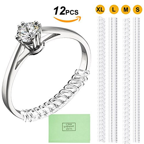 12pcs Ring Size Adjuster Ring Guard with Jewelry Polishing Cloth,4 Sizes Perfect for Loose Rings