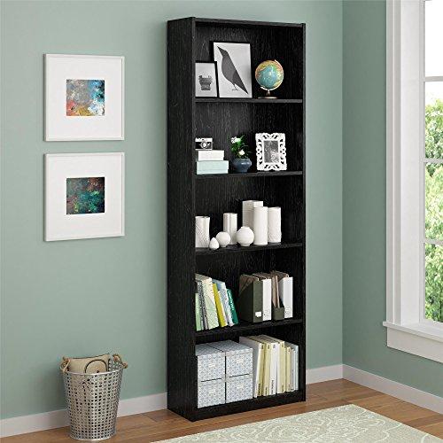 (Ameriwood 5 Shelf Adjustable Bookcase, Set of 2, Black)